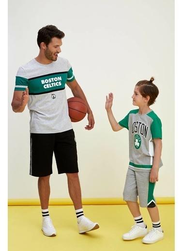DeFacto NBA Lisanslı Baskılı T-shirt Gri